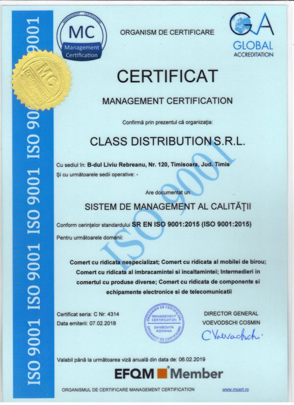 Certificat ISO 9001 Class Distribution